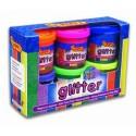 Temperové farby Glitter v kelímku, sada 6x55 ml + štetec
